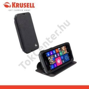 Nokia Lumia 530 KRUSELL FlipCase MALMÖ,műanyag telefonvédő (oldalra nyíló bőr flip,asztali tartó funkció,bankkáryta tartó) FEKETE