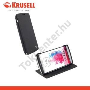 LG G3 (D850) KRUSELL FlipCase MALMÖ, műanyag telefonvédő (oldalra nyíló bőr flip, asztali tartó funkció, bankkáryta tartó) FEKETE