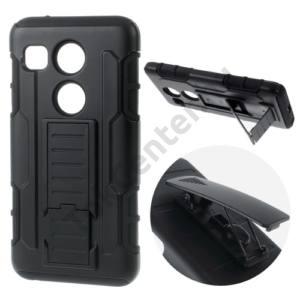LG Nexus 5X (H791) Defender műanyag telefonvédő (gumi / szilikon belső, csúsztatható előlap, övcsipesz, kitámasztó) FEKETE