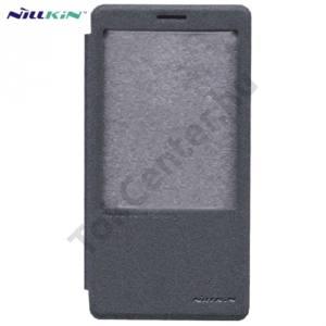 Huawei Mate 8 NILLKIN SPARKLE műanyag telefonvédő (mikroszálas bőr flip, oldalra nyíló, hívószámkijelzés, S-View Cover) FEKETE