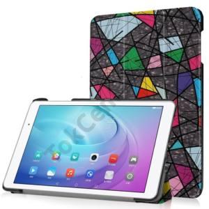 Huawei Mediapad T2 10.0 Pro Tok álló, bőr (FLIP, oldalra nyíló, TRIFOLD asztali tartó funkció, absztrakt minta) SZÍNES