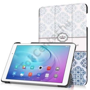 Huawei Mediapad T2 10.0 Pro Tok álló, bőr (FLIP, oldalra nyíló, TRIFOLD asztali tartó funkció, damaszkuszi virágminta) KÉK