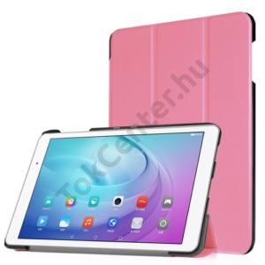 Huawei Mediapad T2 10.0 Pro Tok álló, bőr (FLIP, oldalra nyíló, TRIFOLD asztali tartó funkció) RÓZSASZÍN