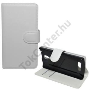 Lenovo A2010 Tok álló, bőr (FLIP, oldalra nyíló, asztali tartó funkció) FEHÉR