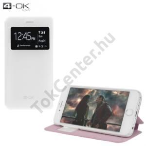 Samsung Galaxy J1 (SM-J100) 4-OK tok álló, bőr (FLIP, oldalra nyíló, asztali tartó funkció, hívószámkijelzés, S-View Cover) FEHÉR