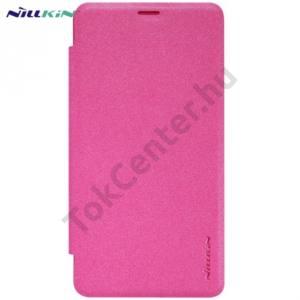 Microsoft Lumia 950 NILLKIN SPARKLE műanyag telefonvédő (mikroszálas bőr flip, oldalra nyíló) RÓZSASZÍN