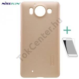 Microsoft Lumia 950 NILLKIN SUPER FROSTED műanyag telefonvédő (érdes felület, képernyővédő fólia, tisztítókendő) ARANY