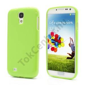 Samsung Galaxy S IV. (GT-I9500) Telefonvédő gumi / szilikon (csillámporos) ZÖLD