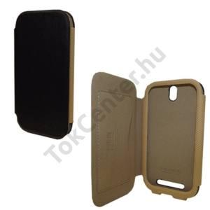HTC One ST (T528T) KALAIDENG CHARMING II. tok álló, bőr (FLIP, oldalra nyíló, bankkártya tartó, kéregminta) FEKETE