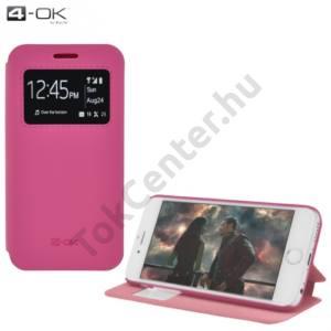Huawei P8 lite 4-OK tok álló, bőr (FLIP, oldalra nyíló, asztali tartó funkció, hívószámkijelzés, S-View Cover) RÓZSASZÍN