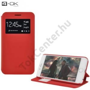 Samsung Galaxy J5 (SM-J500) 4-OK tok álló, bőr (FLIP, oldalra nyíló, asztali tartó funkció, hívószámkijelzés, S-View Cover) PIROS