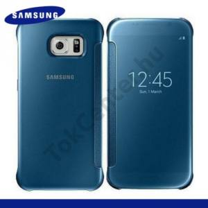 Samsung Galaxy S6 (SM-G920) Műanyag telefonvédő (FLIP, oldalra nyíló, Clear View Cover) KÉK