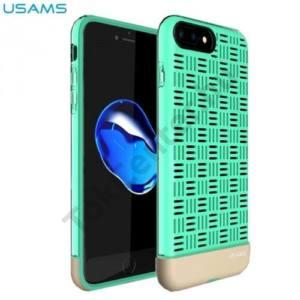 Apple iPhone 7 /APPLE IPhone 8 4,7`` USAMS LANDWIND telefonvédő gumi / szilikon (rácsminta) CYAN/ARANY