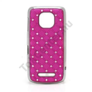 Nokia 311 Asha Műanyag telefonvédő (strasszkő) RÓZSASZÍN