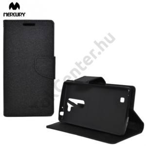 LG G4c (H525n) MERCURY Fancy Diary tok álló, bőr (FLIP, mágneses, oldalra nyíló, bankkártya tartó, asztali tartó funkció) FEKETE