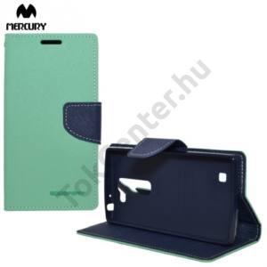 LG G4c (H525n) MERCURY Fancy Diary tok álló, bőr (FLIP, mágneses, oldalra nyíló, bankkártya tartó, asztali tartó funkció) CYAN