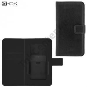 4-OK tok UNIV álló, bőr (oldalra nyíló, bankkártya tartó, 5,1'', csúsztatható, állítható készülék rögzítés) FEKETE