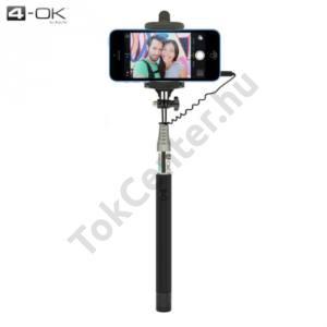 4-OK UNIV állítható selfie bot (3.5 mm jack csatlakozó, távkioldó exponáló gomb, 1m hosszú nyél, 55-85 mm) FEKETE