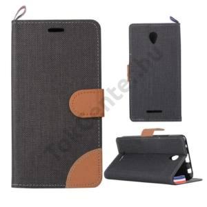 Lenovo A5000 Tok álló, bőr (FLIP, oldalra nyíló, asztali tartó funkció, textil hatás) FEKETE/BARNA