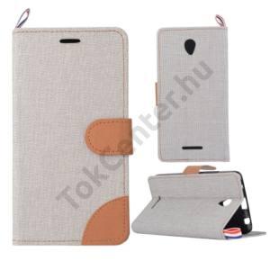 Lenovo A5000 Tok álló, bőr (FLIP, oldalra nyíló, asztali tartó funkció, textil hatás) VILÁGOSSZÜRKE/BARNA
