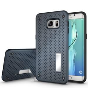 Samsung Galaxy S6 EDGE + (SM-G928) Műanyag telefonvédő (szilikon keret, lyukacsos minta, kitámasztó) SÖTÉTKÉK