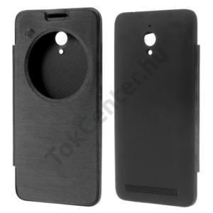Asus Zenfone Go (ZC500TG) Műanyag telefonvédő (bőr flip, oldalra nyíló, View Window) FEKETE