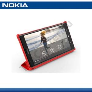 Nokia Lumia 1520 Műanyag telefonvédő (bőr flip, asztali tartó funkció) PIROS