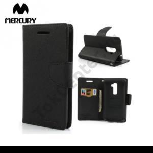LG G2 (D802) MERCURY Fancy Diary tok álló, bőr (FLIP, mágneses, oldalra nyíló, bankkártya tartó, asztali tartó funkció) FEKETE