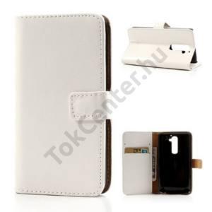 LG G2 (D802) Tok álló, bőr (FLIP, mágneses, oldalra nyíló, bankkártya tartó, asztali tartó funkció) FEHÉR