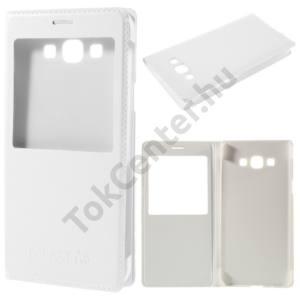 Samsung Galaxy A8 (SM-A800F) Tok álló, bőr (FLIP, oldalra nyíló, hívókijelzés, View Window) FEHÉR