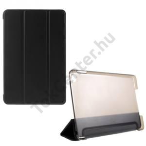 Apple IPAD mini 4 Műanyag telefonvédő (FLIP, átlátszó hátlap, oldalra nyíló, TRIFOLD asztali tartó funkció) FEKETE