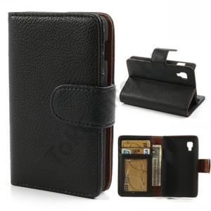 LG Optimus L4 II. dual (E440) Tok álló, bőr (FLIP, mágneses, oldalra nyíló, bankkártya tartó, fényképtartó, asztali tartó funkció) FEKETE
