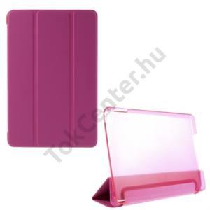Apple IPAD mini 4 Műanyag telefonvédő (FLIP, átlátszó hátlap, oldalra nyíló, TRIFOLD asztali tartó funkció) MAGENTA