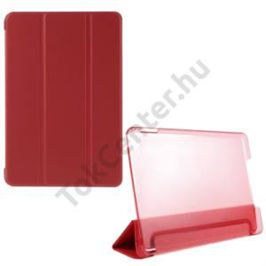 Apple IPAD mini 4 Műanyag telefonvédő (FLIP, átlátszó hátlap, oldalra nyíló, TRIFOLD asztali tartó funkció) PIROS