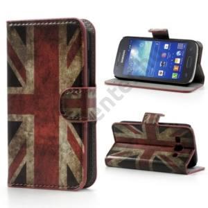 Samsung Galaxy Ace 3 LTE (GT-S7275) Tok álló, bőr (FLIP, asztali tartó funkció, oldalra nyíló, bankkártya tartó, zászlóminta) BRIT/ANGOL