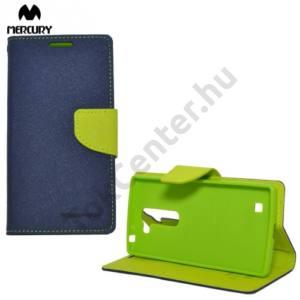 LG G4c (H525n) MERCURY Fancy Diary tok álló, bőr (FLIP, mágneses, oldalra nyíló, bankkártya tartó, asztali tartó funkció) SÖTÉTKÉK