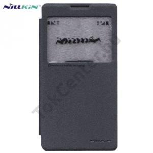 Lenovo P90 NILLKIN SPARKLE műanyag telefonvédő (mikroszálas bőr flip, oldalra nyíló, hívószámkijelzés, S-View Cover) FEKETE