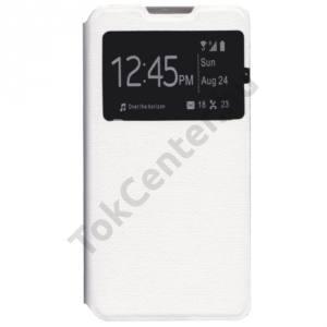 LG G4c (H525n) Tok álló, bőr (FLIP, oldalra nyíló, S-View Cover) FEHÉR