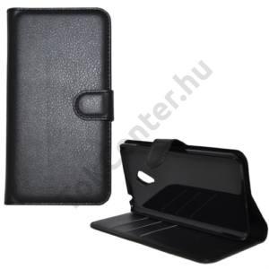 Univerzális Tok álló, bőr (FLIP, oldalra nyíló, asztali tartó funkció) FEKETE MEIZU MX5