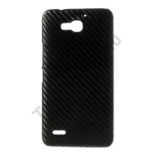 Huawei Ascend G750 Műanyag telefonvédő (karbon minta) FEKETE