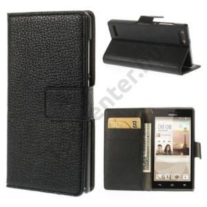 Huawei Ascend G6 3G Tok álló, bőr (FLIP, mágneses, oldalra nyíló, bankkártya  tartó, asztali tartó funkció) FEKETE