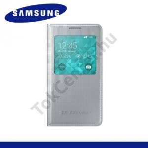 Samsung Galaxy Alpha (SM-G850) Tok álló, bőr (FLIP, akkufedél, oldalra nyíló, hívószámkijelzés, S-View Cover) EZÜST