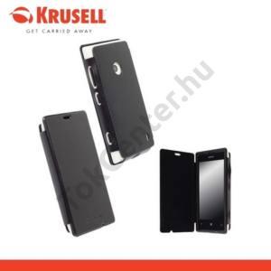 Nokia Lumia 520 KRUSELL FlipCover DONSÖ, műanyag telefonvédő (oldalra nyíló bőr flip) FEKETE