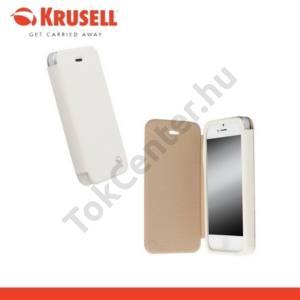 Apple iPhone 5C KRUSELL FlipCover MALMÖ, műanyag telefonvédő (oldalra nyíló bőr flip, bankkárytatartóval) FEHÉR