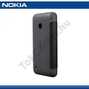 Nokia Lumia 530 Műanyag telefonvédő (bőr flip, oldalra nyíló) FEKETE