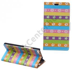 Huawei P8 lite Tok álló, bőr (FLIP, oldalra nyíló, asztali tartó funkció, csíkos, virágminta) SZÍNES