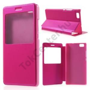 Huawei P8 lite Tok álló, bőr (FLIP, oldalra nyíló, asztali tartó funkció, S-View Cover) RÓZSASZÍN