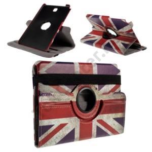 Samsung Galaxy Tab A 8.0 (SM-T350) Tok álló, bőr (FLIP, oldalra nyíló, asztali tartó funkció, 360°-ban forgatható, zászlóminta) BRIT/ANGOL