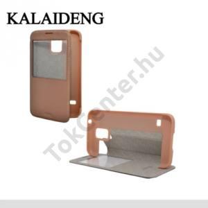 Samsung Galaxy S V. (SM-G900) KALAIDENG KA műanyag telefonvédő (bőr flip, asztali tartó funkció, hívószámkijelzés, S-View Cover) BRONZ