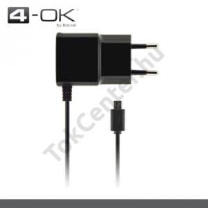 4-OK hálózati töltő (microUSB, 5V / 1000mA) FEKETE